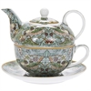 TEA FOR ONE i WILLIAM MORRIS TEAL STRAWBERRY THIEF