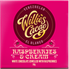 WILLIE'S RASPBERRIES & CREAM – VIT CHOKLAD 50g